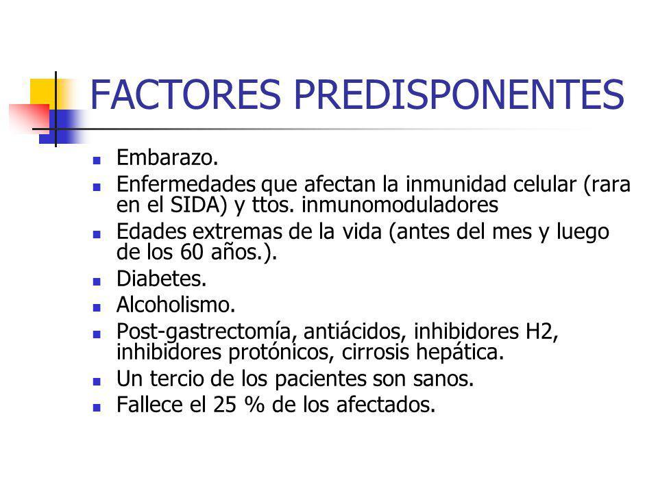 FACTORES PREDISPONENTES Embarazo. Enfermedades que afectan la inmunidad celular (rara en el SIDA) y ttos. inmunomoduladores Edades extremas de la vida
