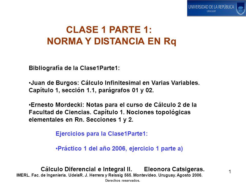 1 Bibliografía de la Clase1Parte1: Juan de Burgos: Cálculo Infinitesimal en Varias Variables.