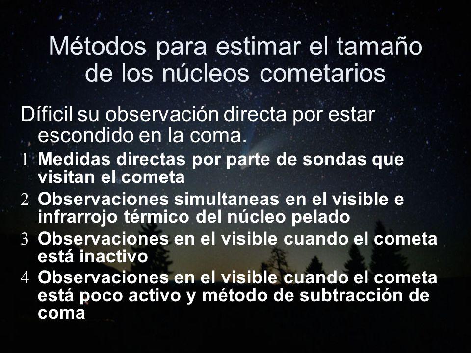 Métodos para estimar el tamaño de los núcleos cometarios Díficil su observación directa por estar escondido en la coma. 1 Medidas directas por parte d