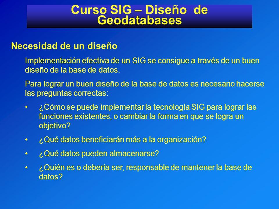 Curso SIG – Diseño de Geodatabases Identificar las fuente de datos Determinar los datos necesarios para las funciones.