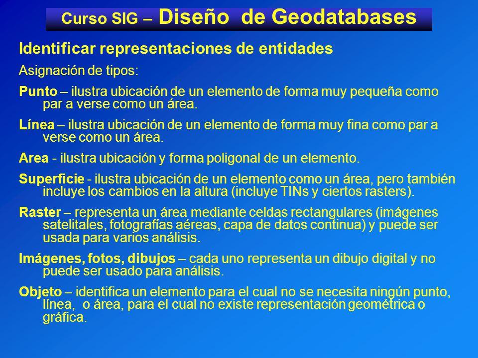 Curso SIG – Diseño de Geodatabases Identificar representaciones de entidades Asignación de tipos: Punto – ilustra ubicación de un elemento de forma muy pequeña como par a verse como un área.