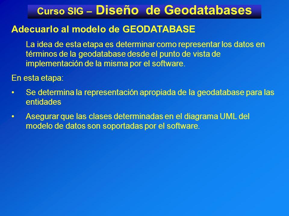 Curso SIG – Diseño de Geodatabases Adecuarlo al modelo de GEODATABASE La idea de esta etapa es determinar como representar los datos en términos de la geodatabase desde el punto de vista de implementación de la misma por el software.