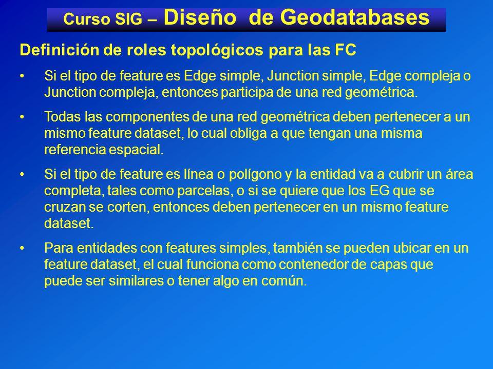 Curso SIG – Diseño de Geodatabases Definición de roles topológicos para las FC Si el tipo de feature es Edge simple, Junction simple, Edge compleja o Junction compleja, entonces participa de una red geométrica.