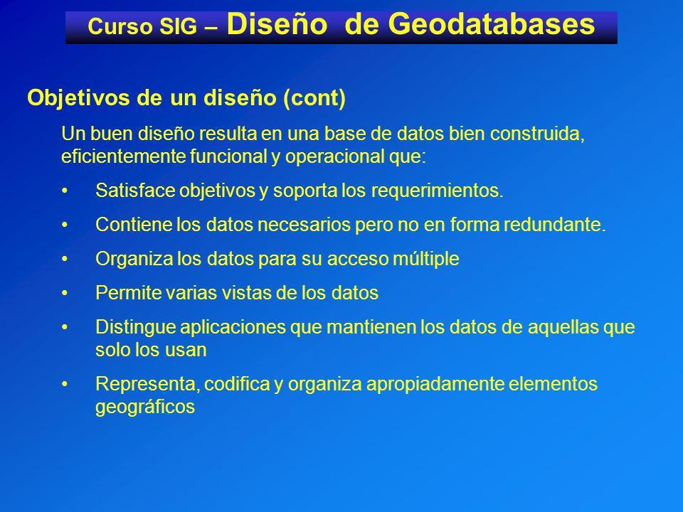 Curso SIG – Diseño de Geodatabases Objetivos de un diseño (cont) Beneficios del diseño: Aumento de la flexibilidad del acceso y análisis de los datos.