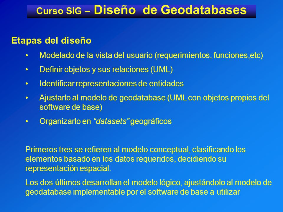 Curso SIG – Diseño de Geodatabases Etapas del diseño Modelado de la vista del usuario (requerimientos, funciones,etc) Definir objetos y sus relaciones (UML) Identificar representaciones de entidades Ajustarlo al modelo de geodatabase (UML con objetos propios del software de base) Organizarlo en datasets geográficos Primeros tres se refieren al modelo conceptual, clasificando los elementos basado en los datos requeridos, decidiendo su representación espacial.