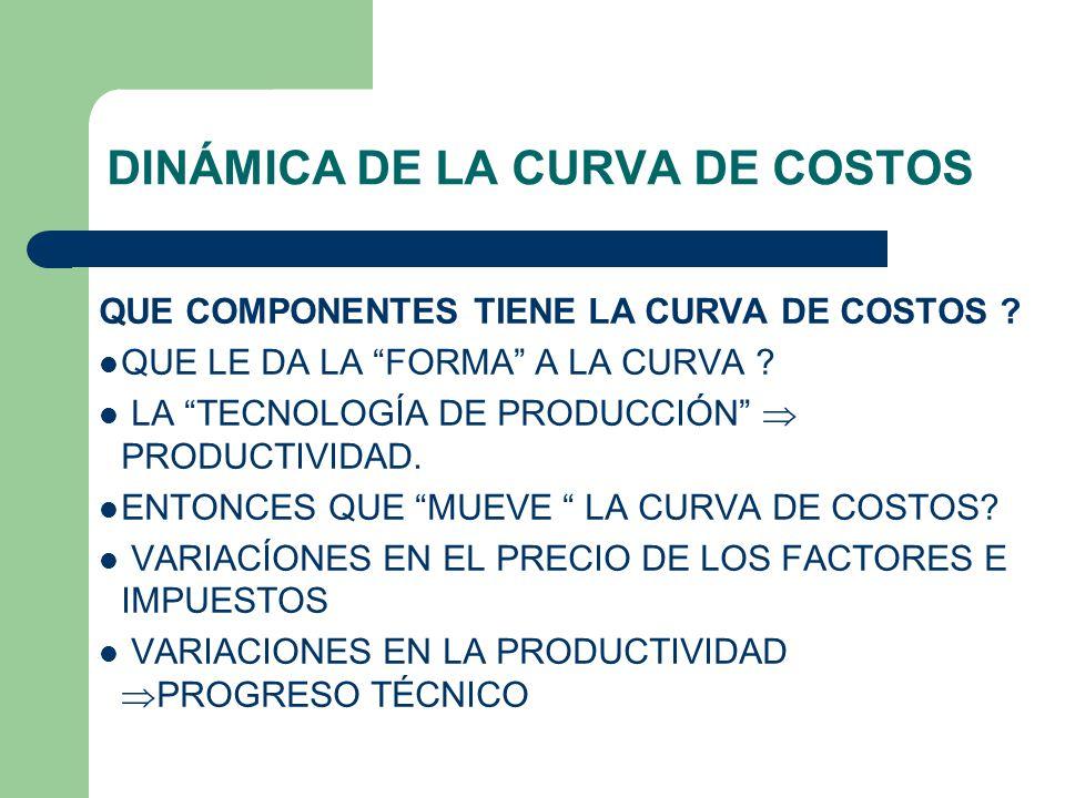 DINÁMICA DE LA CURVA DE COSTOS QUE COMPONENTES TIENE LA CURVA DE COSTOS .