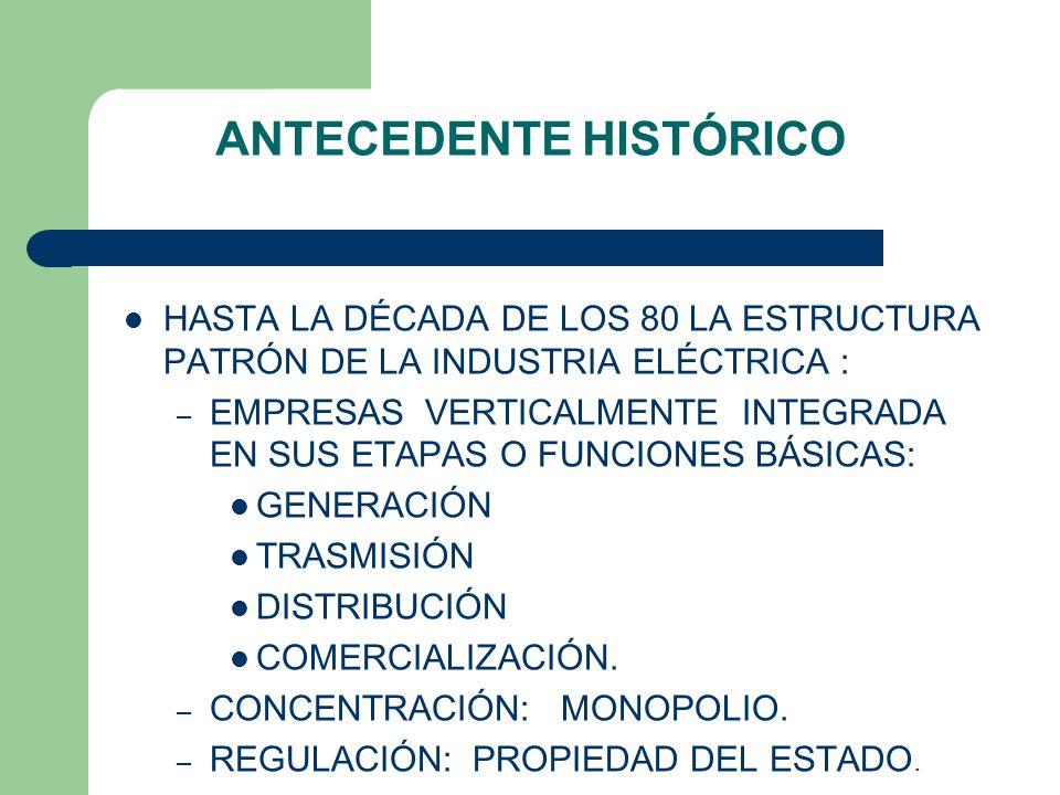 ANTECEDENTE HISTÓRICO HASTA LA DÉCADA DE LOS 80 LA ESTRUCTURA PATRÓN DE LA INDUSTRIA ELÉCTRICA : – EMPRESAS VERTICALMENTE INTEGRADA EN SUS ETAPAS O FUNCIONES BÁSICAS: GENERACIÓN TRASMISIÓN DISTRIBUCIÓN COMERCIALIZACIÓN.
