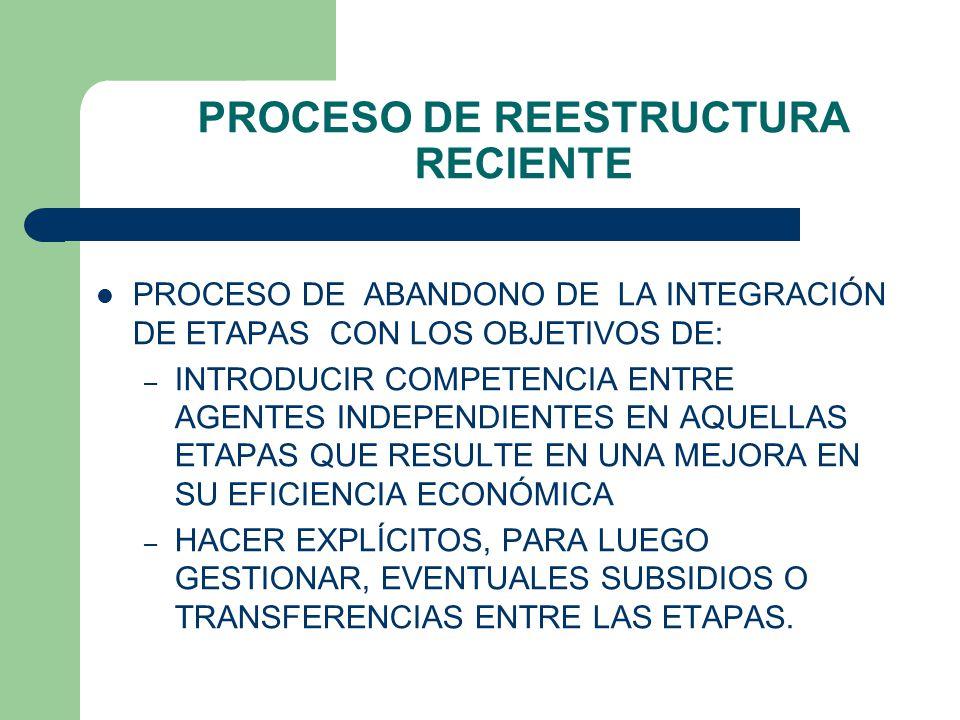 PROCESO DE REESTRUCTURA RECIENTE PROCESO DE ABANDONO DE LA INTEGRACIÓN DE ETAPAS CON LOS OBJETIVOS DE: – INTRODUCIR COMPETENCIA ENTRE AGENTES INDEPENDIENTES EN AQUELLAS ETAPAS QUE RESULTE EN UNA MEJORA EN SU EFICIENCIA ECONÓMICA – HACER EXPLÍCITOS, PARA LUEGO GESTIONAR, EVENTUALES SUBSIDIOS O TRANSFERENCIAS ENTRE LAS ETAPAS.