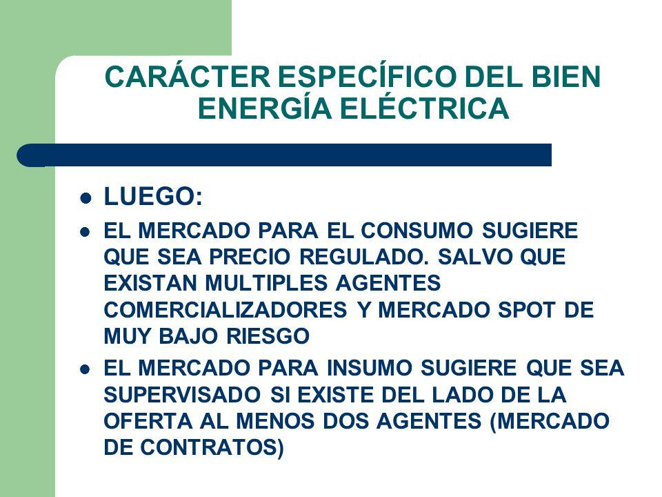 CARÁCTER ESPECÍFICO DEL BIEN ENERGÍA ELÉCTRICA COMO CONSUMO: MULTIPLICIDAD DE AGENTES CON DEMANDAS DE PEQUEÑA CANTIDAD.