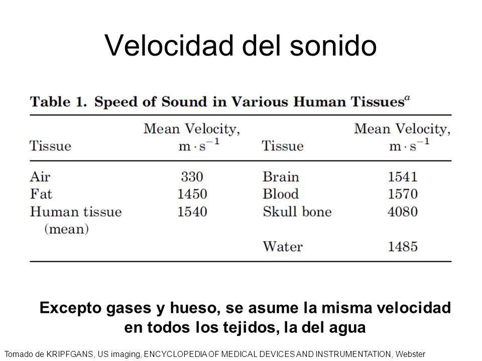 Velocidad del sonido Excepto gases y hueso, se asume la misma velocidad en todos los tejidos, la del agua Tomado de KRIPFGANS, US imaging, ENCYCLOPEDI