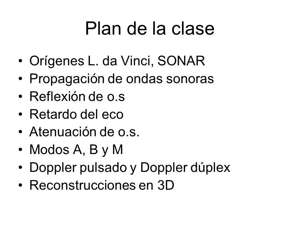 Plan de la clase Orígenes L. da Vinci, SONAR Propagación de ondas sonoras Reflexión de o.s Retardo del eco Atenuación de o.s. Modos A, B y M Doppler p