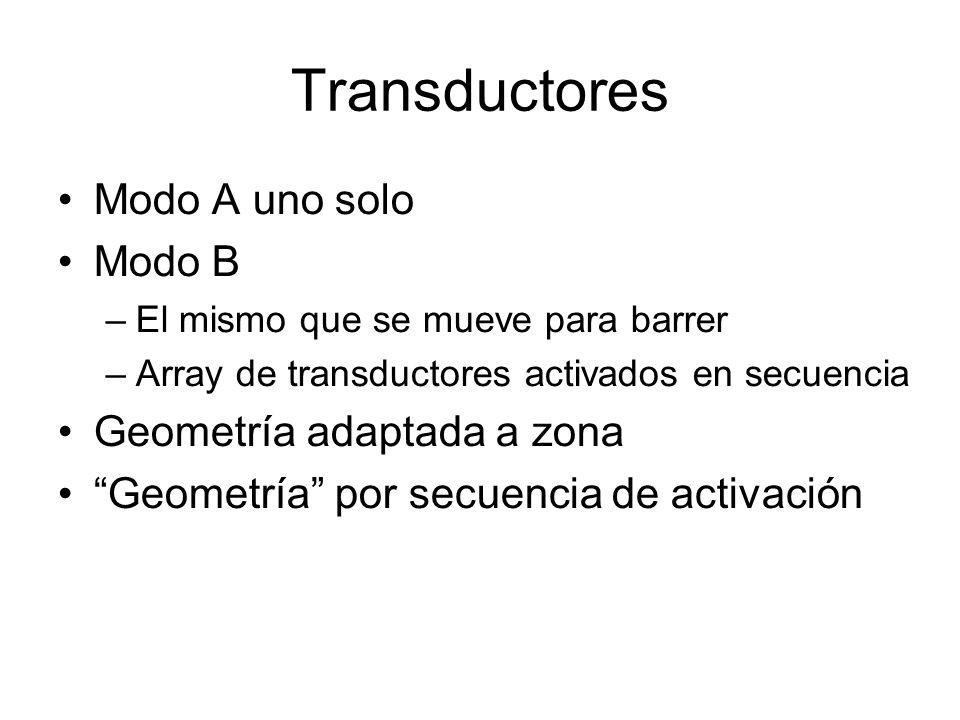 Transductores Modo A uno solo Modo B –El mismo que se mueve para barrer –Array de transductores activados en secuencia Geometría adaptada a zona Geome
