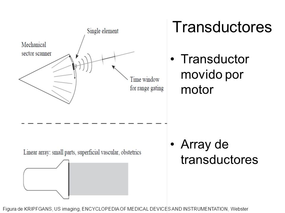 Transductores Transductor movido por motor Array de transductores Figura de KRIPFGANS, US imaging, ENCYCLOPEDIA OF MEDICAL DEVICES AND INSTRUMENTATION, Webster
