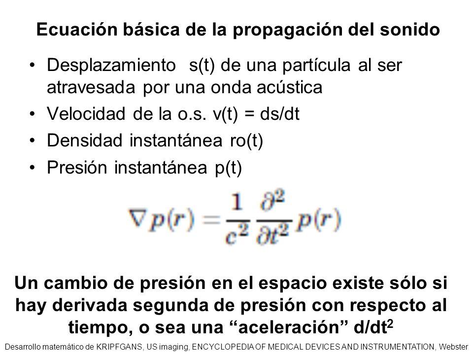 Ecuación básica de la propagación del sonido Desplazamiento s(t) de una partícula al ser atravesada por una onda acústica Velocidad de la o.s. v(t) =