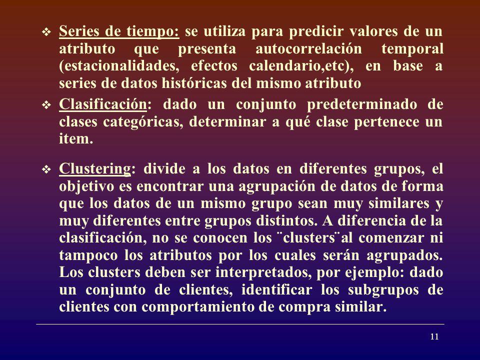 11 Series de tiempo: se utiliza para predicir valores de un atributo que presenta autocorrelación temporal (estacionalidades, efectos calendario,etc), en base a series de datos históricas del mismo atributo Clasificación: dado un conjunto predeterminado de clases categóricas, determinar a qué clase pertenece un item.