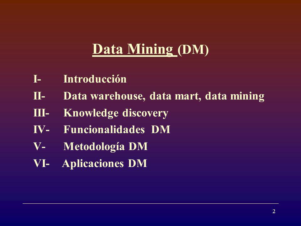 13 V- Metodología DM DM no involucra una única técnica, se dispone de un conjunto de métodos que pueden ayudar a extraer mas información de los datos originales.