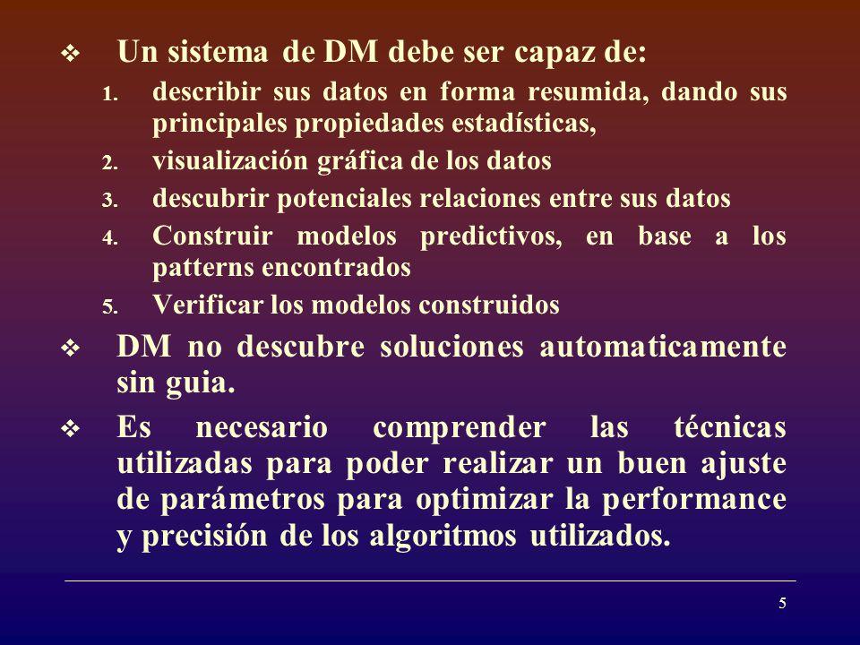 5 Un sistema de DM debe ser capaz de: 1.