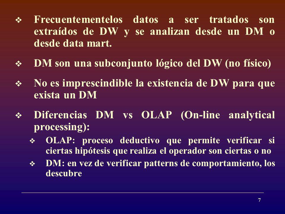 8 III- Knowledge discovery ( KDD ) DM: a veces se usa como sinónimo de KDD y para otros es solamente uno de los pasos involucrados en KDD.