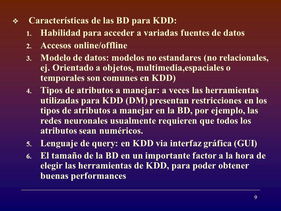 9 Características de las BD para KDD: 1.Habilidad para acceder a variadas fuentes de datos 2.