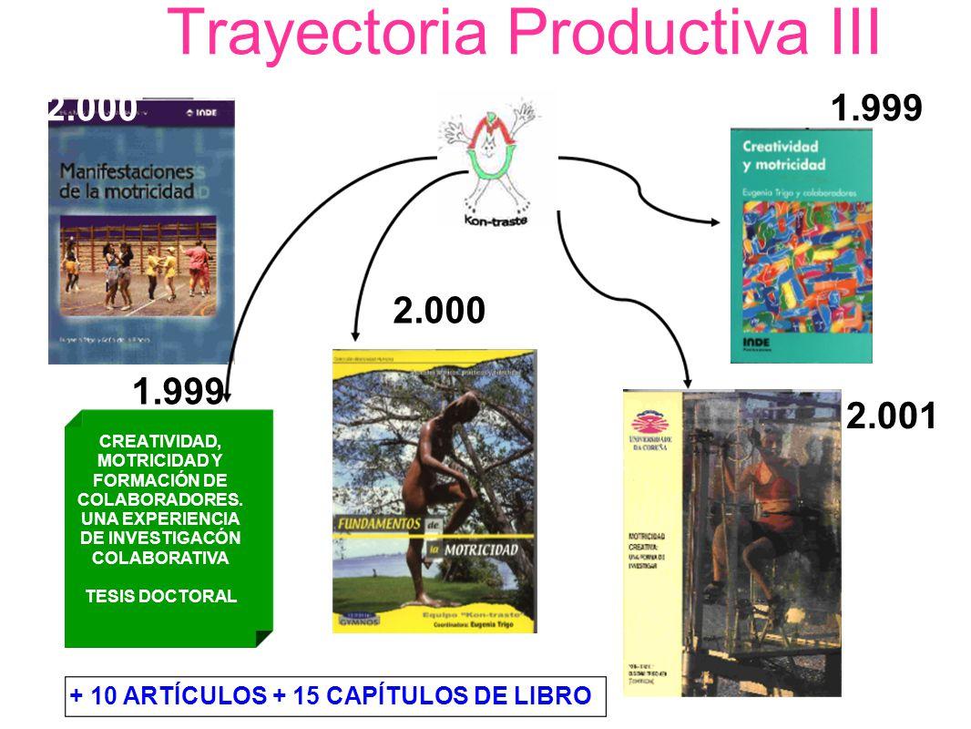 Trayectoria Productiva III 2.0001.999 2.000 2.001 CREATIVIDAD, MOTRICIDAD Y FORMACIÓN DE COLABORADORES. UNA EXPERIENCIA DE INVESTIGACÓN COLABORATIVA T
