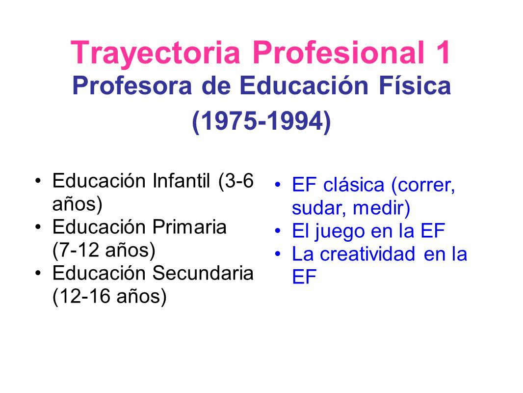 Trayectoria Profesional 1 Profesora de Educación Física (1975-1994) Educación Infantil (3-6 años) Educación Primaria (7-12 años) Educación Secundaria