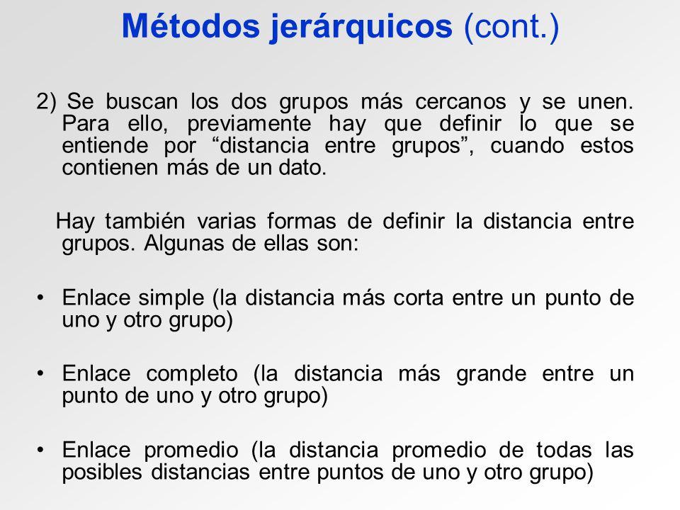 Métodos jerárquicos (cont.) 2) Se buscan los dos grupos más cercanos y se unen. Para ello, previamente hay que definir lo que se entiende por distanci