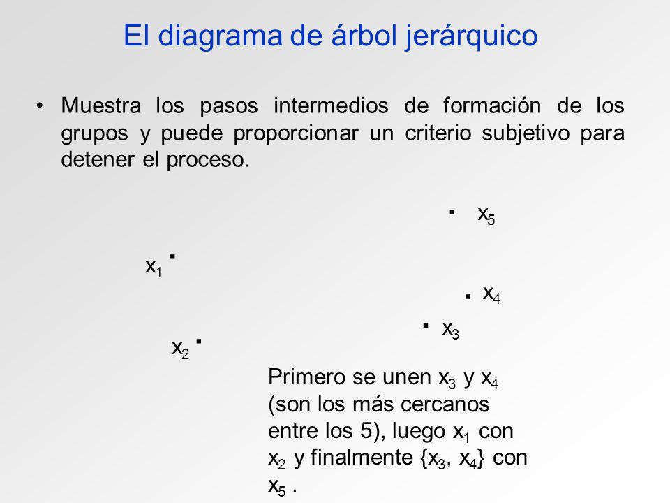 El diagrama de árbol jerárquico Muestra los pasos intermedios de formación de los grupos y puede proporcionar un criterio subjetivo para detener el pr