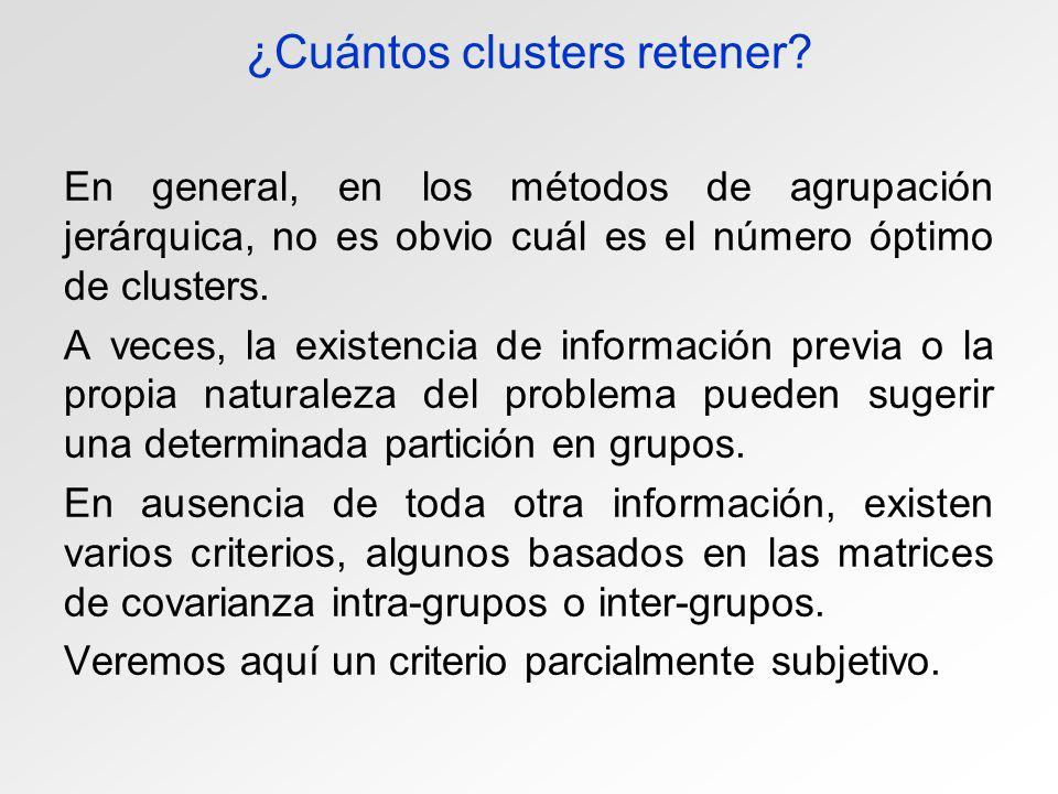 ¿Cuántos clusters retener? En general, en los métodos de agrupación jerárquica, no es obvio cuál es el número óptimo de clusters. A veces, la existenc