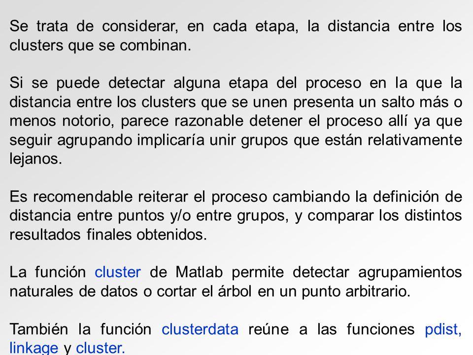 Se trata de considerar, en cada etapa, la distancia entre los clusters que se combinan. Si se puede detectar alguna etapa del proceso en la que la dis