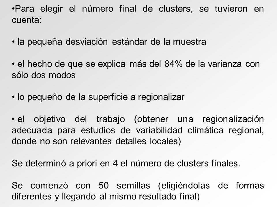Para elegir el número final de clusters, se tuvieron en cuenta: la pequeña desviación estándar de la muestra el hecho de que se explica más del 84% de la varianza con sólo dos modos lo pequeño de la superficie a regionalizar el objetivo del trabajo (obtener una regionalización adecuada para estudios de variabilidad climática regional, donde no son relevantes detalles locales) Se determinó a priori en 4 el número de clusters finales.
