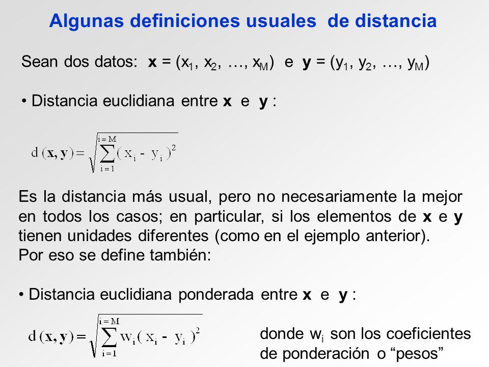 Algunas definiciones usuales de distancia Sean dos datos: x = (x 1, x 2, …, x M ) e y = (y 1, y 2, …, y M ) Distancia euclidiana entre x e y : Es la distancia más usual, pero no necesariamente la mejor en todos los casos; en particular, si los elementos de x e y tienen unidades diferentes (como en el ejemplo anterior).