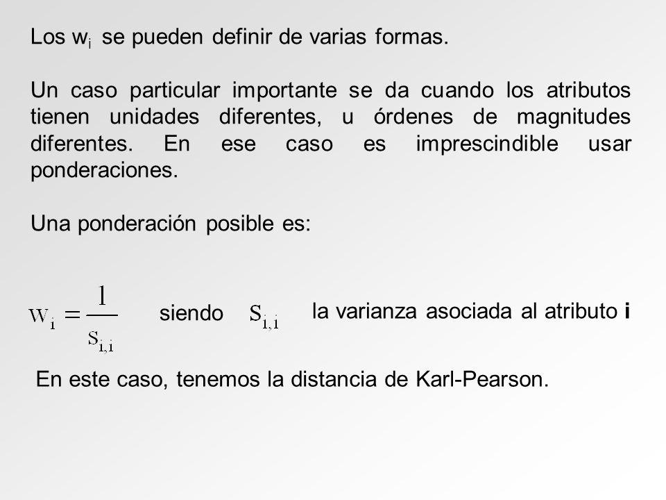 Los w i se pueden definir de varias formas. Un caso particular importante se da cuando los atributos tienen unidades diferentes, u órdenes de magnitud