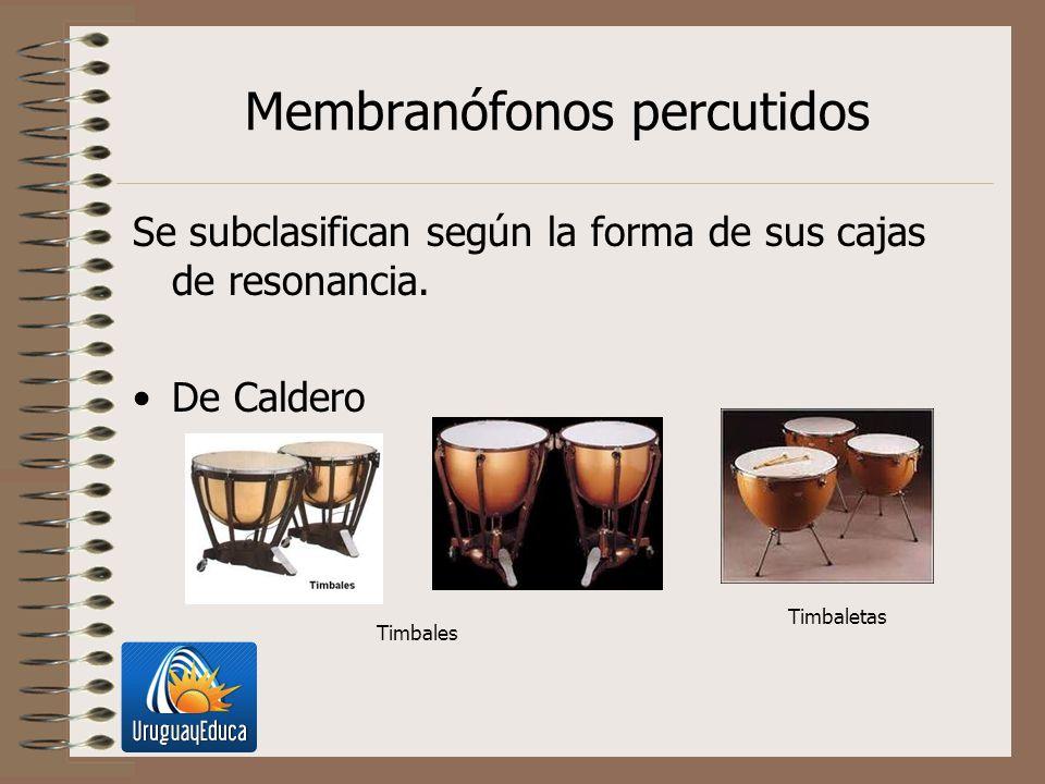 Membranófonos percutidos Se subclasifican según la forma de sus cajas de resonancia. De Caldero Timbales Timbaletas