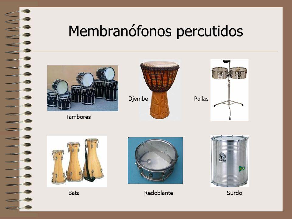 Membranófonos percutidos Pailas Tambores Djembe BataRedoblanteSurdo