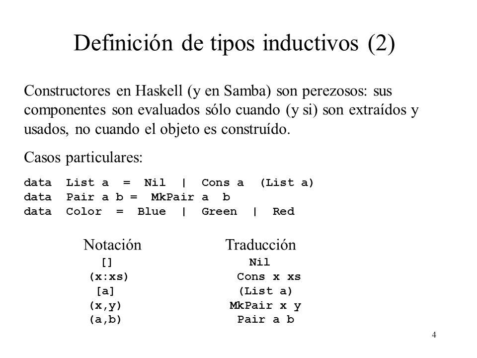 3 Definición de tipos inductivos data Tree a = Leaf a | Branch (Tree a) (Tree a) Un objeto de tipo Tree a es o una Leaf, la que contiene un objeto de tipo a o una Branch que contiene dos objetos de tipo Tree a.