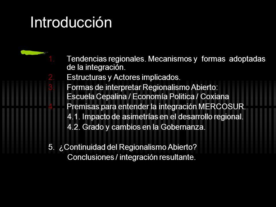 Introducción Tendencias regionales. Mecanismos y formas adoptadas de la integración. Estructuras y Actores implicados. Formas de interpretar Regionali