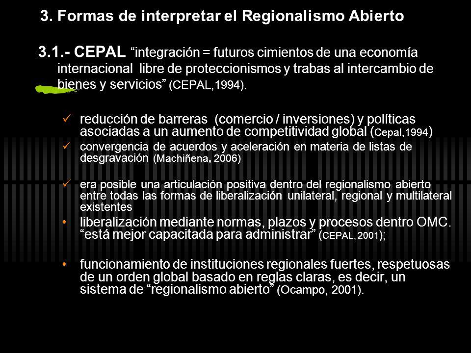 3. Formas de interpretar el Regionalismo Abierto 3.1.- CEPAL integración = futuros cimientos de una economía internacional libre de proteccionismos y