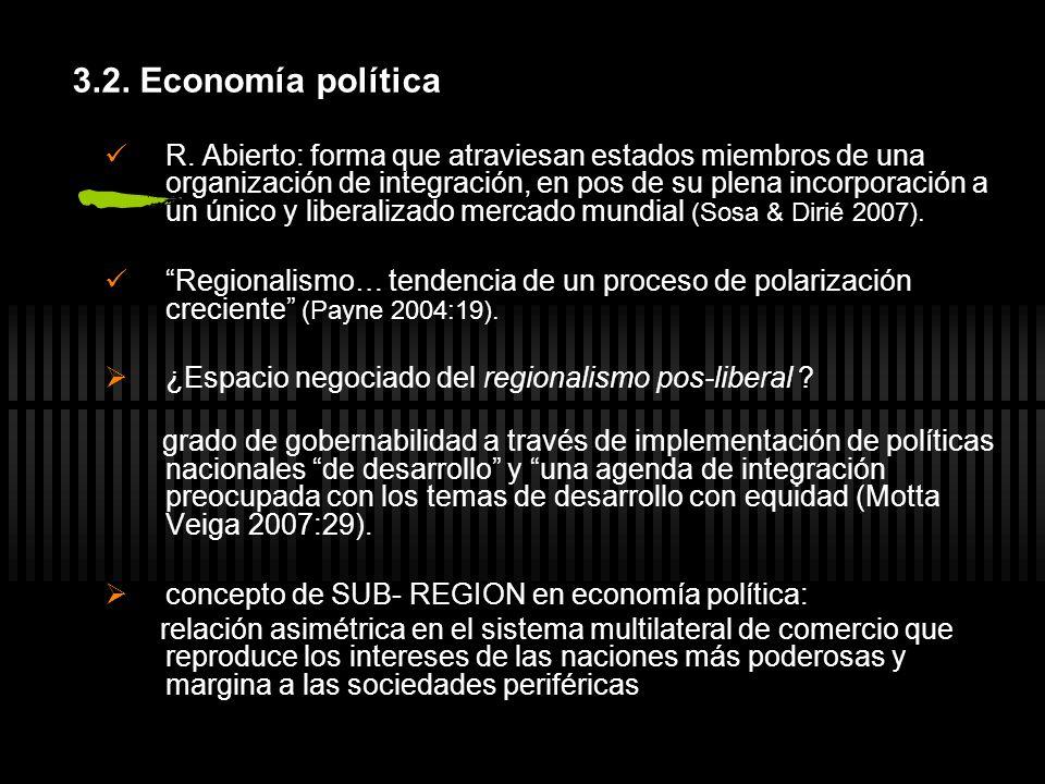 3.2. Economía política R. Abierto: forma que atraviesan estados miembros de una organización de integración, en pos de su plena incorporación a un úni
