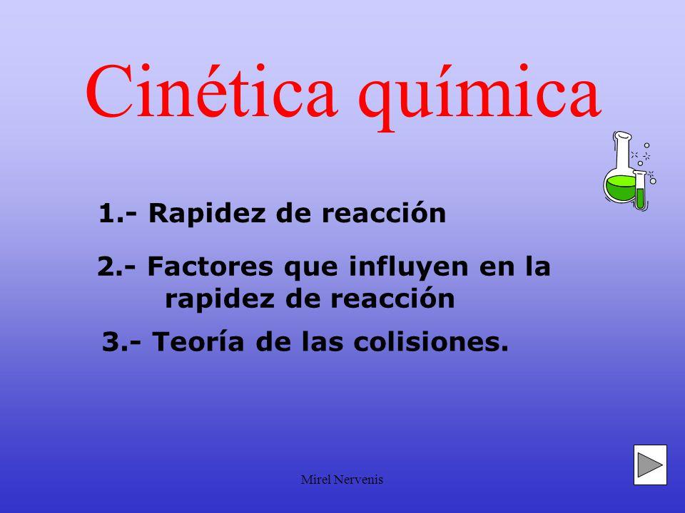 Mirel Nervenis Cinética química 1.- Rapidez de reacción 3.- Teoría de las colisiones.