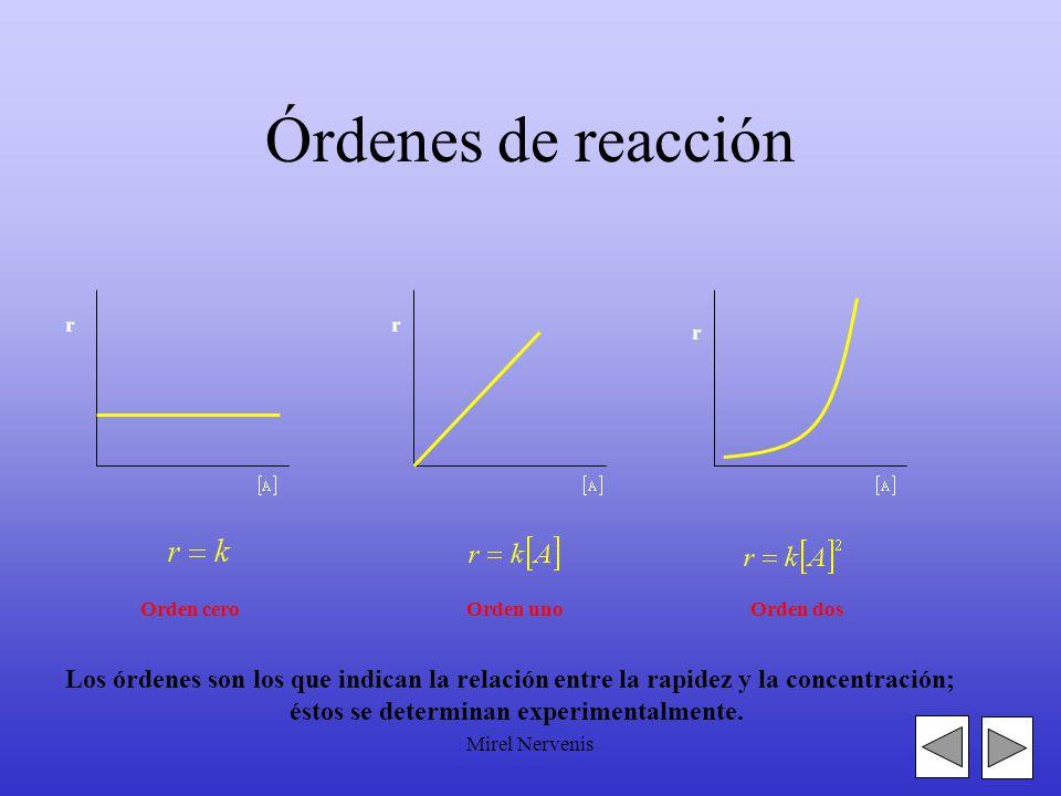Mirel Nervenis Órdenes de reacción r r r Orden ceroOrden unoOrden dos Los órdenes son los que indican la relación entre la rapidez y la concentración; éstos se determinan experimentalmente.