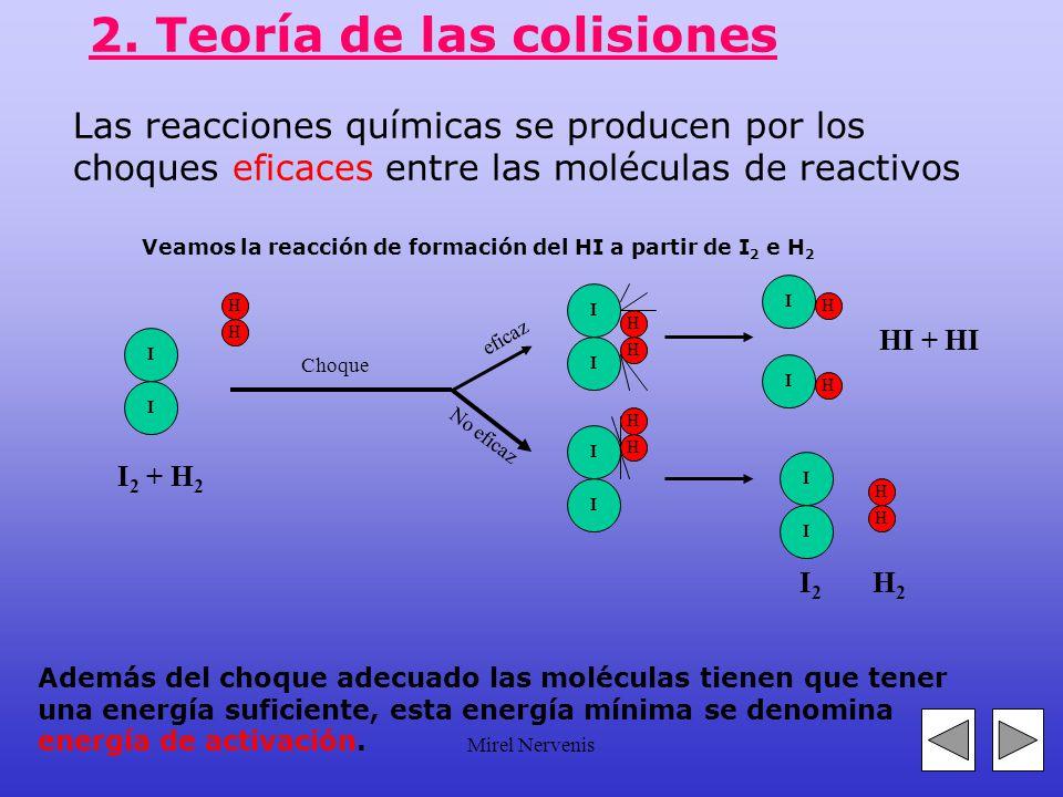 Mirel Nervenis 2. Factores que influyen en la velocidad de reacción 1.- Estado físico de los reactivos 2.- Concentración de los reactivos 3.- Temperat