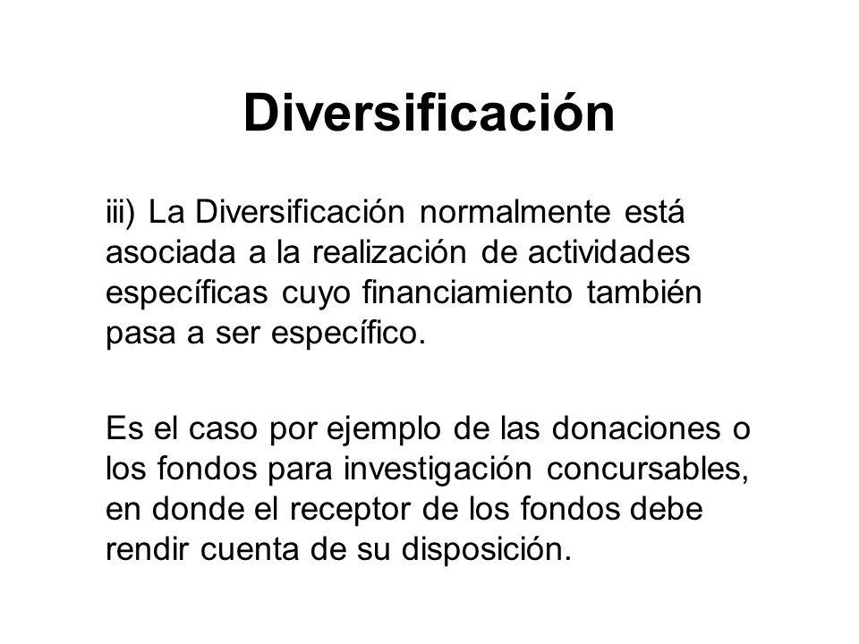 Diversificación iii) La Diversificación normalmente está asociada a la realización de actividades específicas cuyo financiamiento también pasa a ser específico.