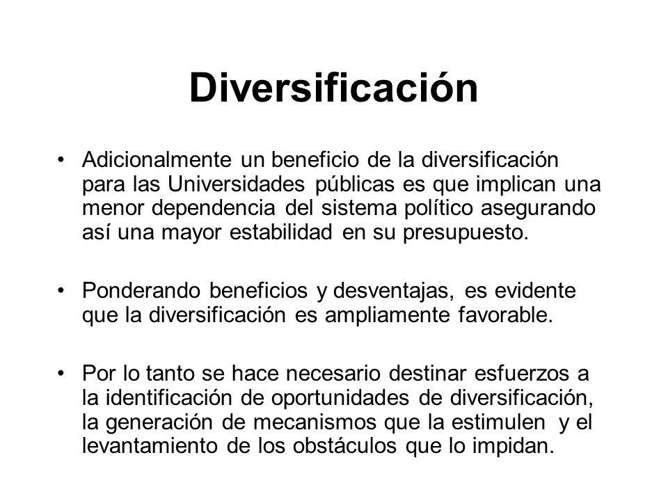 Diversificación Adicionalmente un beneficio de la diversificación para las Universidades públicas es que implican una menor dependencia del sistema político asegurando así una mayor estabilidad en su presupuesto.