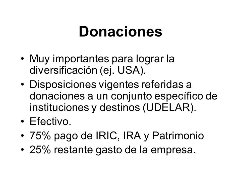 Donaciones Muy importantes para lograr la diversificación (ej.