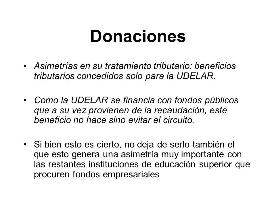 Donaciones Asimetrías en su tratamiento tributario: beneficios tributarios concedidos solo para la UDELAR.