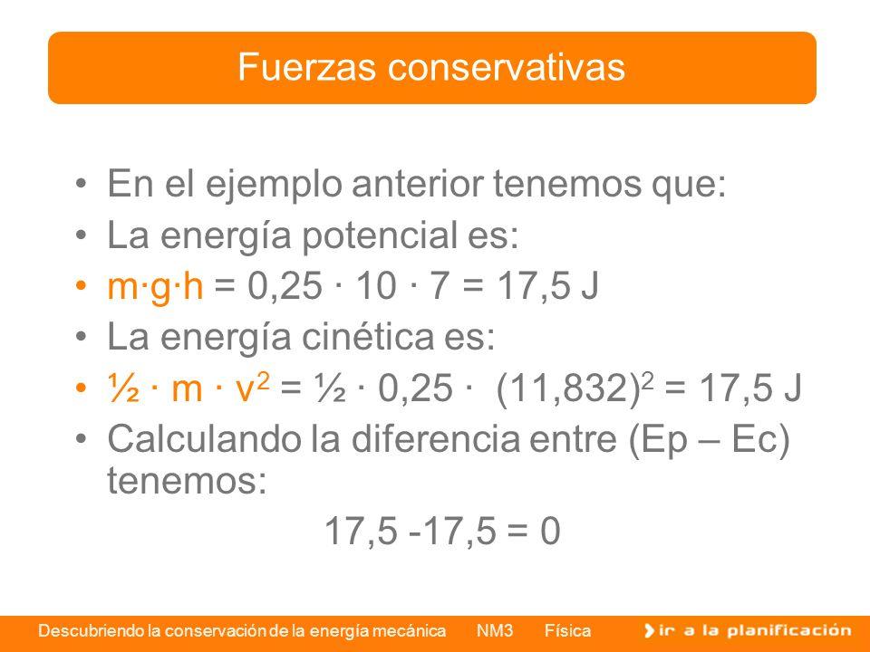 Descubriendo la conservación de la energía mecánica NM3 Física En el ejemplo anterior tenemos que: La energía potencial es: m·g·h = 0,25 · 10 · 7 = 17,5 J La energía cinética es: ½ · m · v 2 = ½ · 0,25 · (11,832) 2 = 17,5 J Calculando la diferencia entre (Ep – Ec) tenemos: 17,5 -17,5 = 0 Fuerzas conservativas