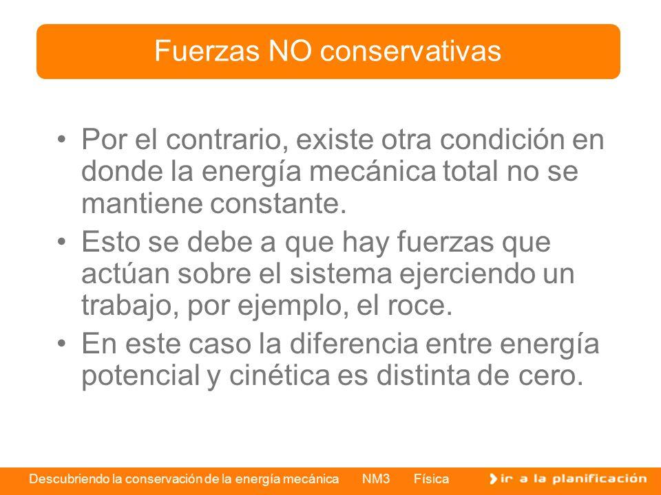 Descubriendo la conservación de la energía mecánica NM3 Física Por el contrario, existe otra condición en donde la energía mecánica total no se mantie