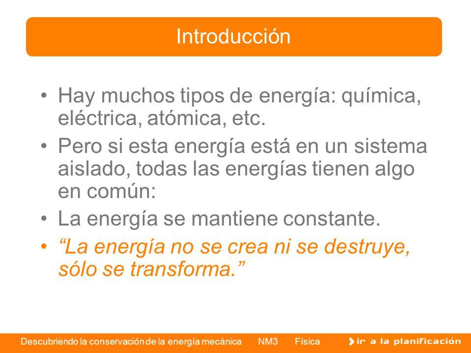 Descubriendo la conservación de la energía mecánica NM3 Física Hay muchos tipos de energía: química, eléctrica, atómica, etc. Pero si esta energía est