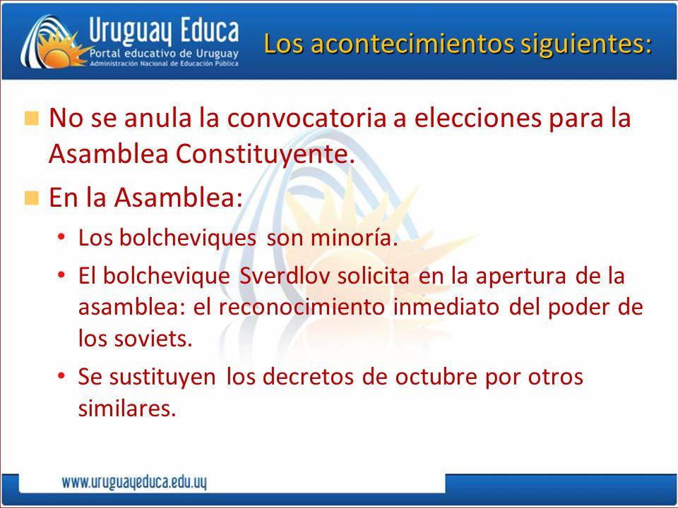 Los acontecimientos siguientes: No se anula la convocatoria a elecciones para la Asamblea Constituyente. En la Asamblea: Los bolcheviques son minoría.