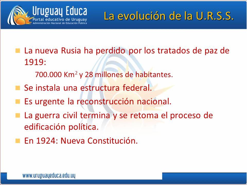 La evolución de la U.R.S.S. La nueva Rusia ha perdido por los tratados de paz de 1919: –700.000 Km 2 y 28 millones de habitantes. Se instala una estru